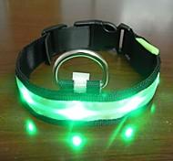 Adjustable Fashionable Flashing Nylon LED Light Pet Dog Collar Safety Collar for Christmas (DD-WT, Green, M)