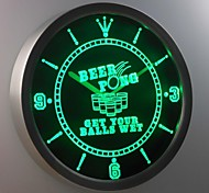 nc0378 Beer Pong Get Your Balls Wet Bar Neon Sign LED Wall Clock