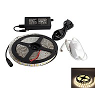Waterproof 5M 300x5050 SMD Warm White LED Strip Lamp with Cable Dimmer Set (12V)