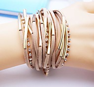 Alloy  Multilayer Handmade Leather Bracelet