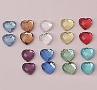 Z&X®  8MM 50 PCS DIY Colorful Heart Shaped Glass Flatback(Random Color)