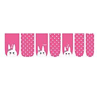 4x14PCS Sweet Pink Cute Rabbit Nail Stickers