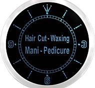 Hair Cut Waxing Mani Pedicure Neon Sign LED Wall Clock