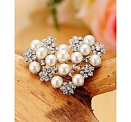 Fashion Pearl Heart Imitation Diamond Gold Plated Brooch for Women In Jewelry