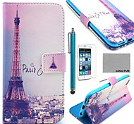 COCO FUN® Eiffel Tower In Night Pattern PU Leather Case with Screen Protecter, Stand and Stylus for iPhone 6 6G 4.7