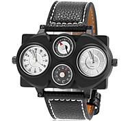Men's Fashion Dual Time Zones Compass Decor Leather Band Quartz Wrist Watch (Assorted Colors)