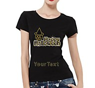 Personalized Rhinestone T-shirts Happy Halloween Ghost Pattern Women's Cotton Short Sleeves