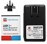 Link Dream 3.7V 2500mah Li-ion Battery + USB Cradle Battery Charger + UK Plug Adapter for Samsung  S2 I9100
