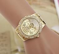 Damenmode Strass herausStahlBand Quarz-Armbanduhr
