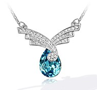 Longing For Women's Sky Short Necklace Plated with 18K True Platinum Aquamarine Crystallized Austrian Crystal Rhinestone