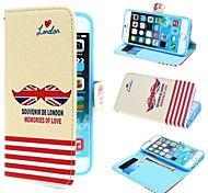 Mustache Shaped Union Jack Flag PU Leather Case with Stand and Card Slot for iPhone 6
