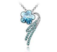 Secret Fragrance Office Lady Short Necklace Plated With 18K True Platinum Aquamarine Austrian Crystal Rhinestone