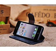 Fashion® Retro Style Nubuck Genuine Leather wallet case for iphone 4/4s with Stand Card Slot with gift box
