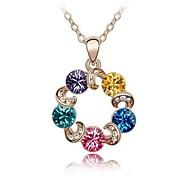 rueda de la fortuna collar corto plateado con dulce rosa de 18 quilates colores mezclados cristalizado rhinestone de cristal austriaco de oro
