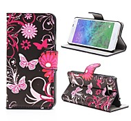 Black Butterflies Leather Cover with Stand and Card Slot for Samsung Galaxy Alpha G850F