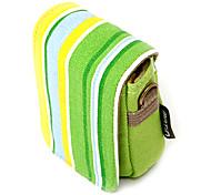 Colorful Stripe Canvas Digital Camera Bag with Shoulder&Waist Strap[Green]