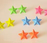 Beautiful Candy Color Pentagram Stud Earrings