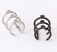 Punk Pentagram Titanium Steel Ear Cuffs (Silver,Black) (1 Pc)