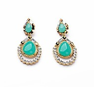 Fashion Green Resin Water Drop Gold Plated Earrings (1 Pair)