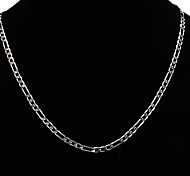 Silver 4mm Italian Figaro Chain Necklace