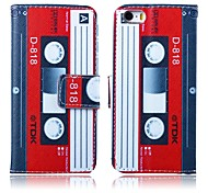 Red-white Tape Pattern PU Leather Full Body Case with Stand for iPhone 5/5S