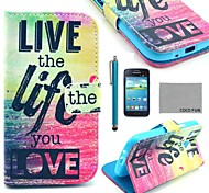 COCO FUN® Love Life Pattern PU Leather Case with Screen Protector and Stylus for Samsung Galaxy Core GT-I8260 I8262