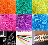 600PCS DIY Twistz Silicone Rubber Bands Rainbow Color Loom Bracelets with Hook&S-clips Assorted Color