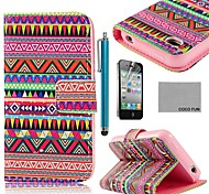 coco fun® rode loper tribale pu lederen full body case met screen protector, staan ​​en stylus voor de iPhone 4 / 4s