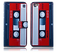 Red-white Tape Pattern PU Leather Full Body Cover for iPhone 6 Plus