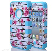 2014 new 3 in 1 Hybrid  Rose Flower Pattern Hard Soft Silicone Back Case Cover Fit For iPhone 4S(Assorted Colours)