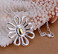 Colgantes Brillante Flower Shape plata 1