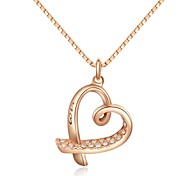 Lovely 18K Rose Gold Plated Austria Crystal Love Heart Pendant Necklace