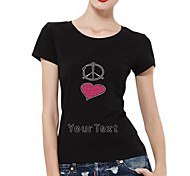 Personalized Rhinestone T-shirts Anti-war with Heart Pattern Women's Cotton Short Sleeves