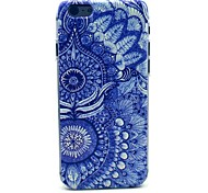 Blue FlowerPattern Plastic Hard Cover for iPhone 6