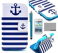 COCO FUN® Navy Blue Anchor Pattern PU Leather Case with Film and Stylus for Samsung Galaxy Trend Lite 7390/7392