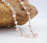 18k cc / 585 chapado en oro rosa de oro collar de perlas de cobre 55cm