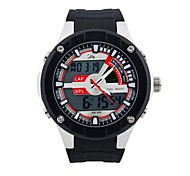 Men's Round Dial Sports Watch PU Strap LED Display Japanese Quartz Watch Luminous WaterproofWrist Watch