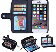 Zipper Wallet Pattern Genuine Leather with Card Slot for iPhone 6