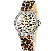 Women's Leopard Print Diamond Case Silicone Band Quartz Wrist Watch (Assorted Colors)