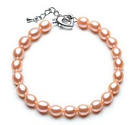 BRI.R® Fashion 6-6.5mm Natural Rice Shape  Pearl Bracelet  Pink 7.1'' with 1.1 Tail Chain