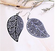 Fashion  Leaves  Alloy Drop Earrings(Black,Silver,Orange) (1 Pair)