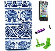 Tribal Elephant Carpet Pattern  PU Leather Cover with Stand and Card Holder for iPhone 4/4S