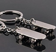Couples' Skateboard Metal Silver Keychain(Silver)(Pair)