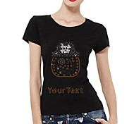 Customized T-shirts Halloween Pumpkin Skull Pattern Women's Cotton Short Sleeves