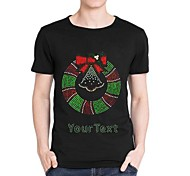 Personalized Rhinestone T-shirts Chirstmas Wreath Pattern Men's Cotton Short Sleeves