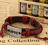 Z&X®  Punk Fashion Alloy Love Hemp Rope Handmade Leather Bracelets