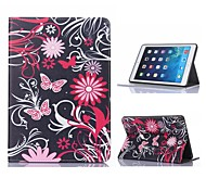 Butterfly and Flower Design Leather Case with Stand for iPad Air 2