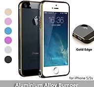 rodada borda de metal de alumínio de proteção caso de liga pára-choques moldura com borda de ouro para iPhone 5 / 5s (cores sortidas)