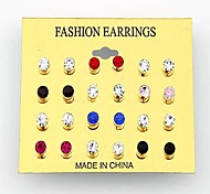 Korean Fashion Diamond Earrings 12PCS(Random Color)