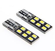 de-kodiert t10 2,5 W 12-2835 SMD 6000K weißes Licht universelle Auto-LED-Lesebreite Lampen (12 V DC 2 Stück)